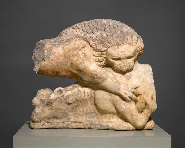 Unknown Greek, 'Lion felling a bull, from a marble pediment', ca. 525–500 B.C., The Metropolitan Museum of Art