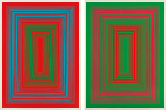 Richard Anuszkiewicz, 'Reflections II - Red Line; and Reflections II - Green Line', 1979, Print, Two monumental screenprints in colors with hand-painting, on Masonite, the full sheets., Phillips