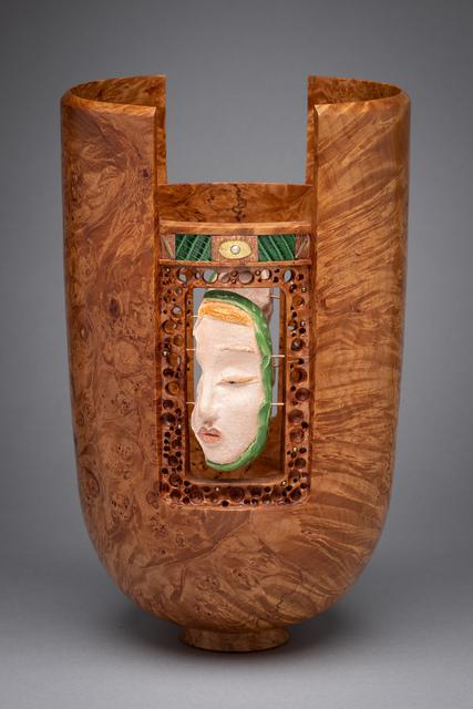 Al Sils, 'Il Serraglio', 2017, Sculpture, Big leaf maple burl, sculpted ceramic faces, snakeskin, copper, silver, brass, and pearl, Beatrice Wood Center for the Arts