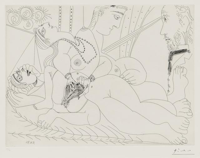 Pablo Picasso, 'La maison tellier, filles entre elles, Degas sidéré 1971, plate III from Séries 156', 1978, Print, Etching on wove paper, Skinner