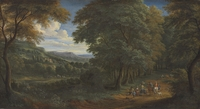 A wooded landscape with horsemen greeting travelers on a path