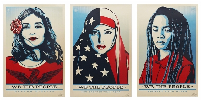 Shepard Fairey, 'We the People, Suite of Three (3) Hand Signed Lithographs', 2017, Alpha 137 Gallery Auction