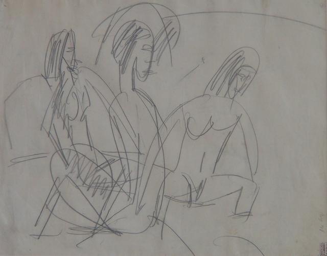 , 'Drei Badende an Steinen, Fehmarn (Three bathers at rocks, Fehmarn),' 1913, Faessler & Ochsner