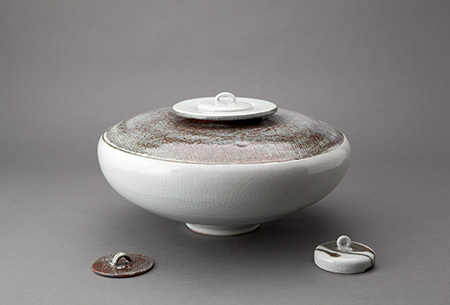 , 'Vase with alternate lids, textured ice crackle glaze,' , Pucker Gallery