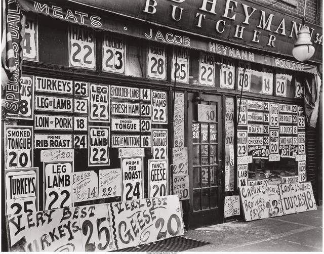 Berenice Abbott, 'Jacob Heyman Butcher Shop, 345 Sixth Ave. June 13', 1938, Heritage Auctions
