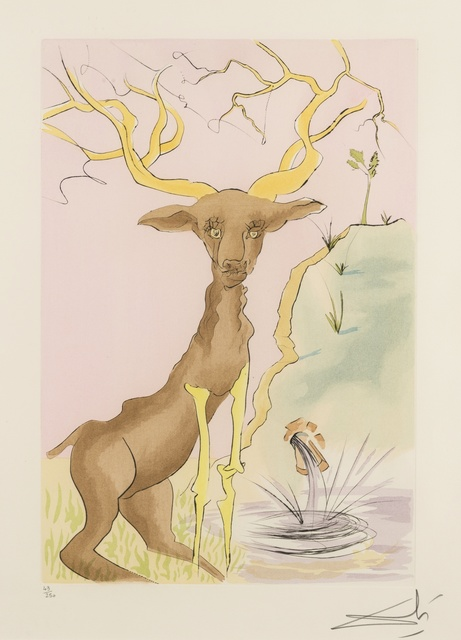 Salvador Dalí, 'The Stag Reflected in the Water (from La Fontaine's Bestiary Dalinized) (M & L 659; FIeld 74-1-G)', 1974, Print, Drypoint etching with pochoir printed in colours, on Arches paper, Forum Auctions