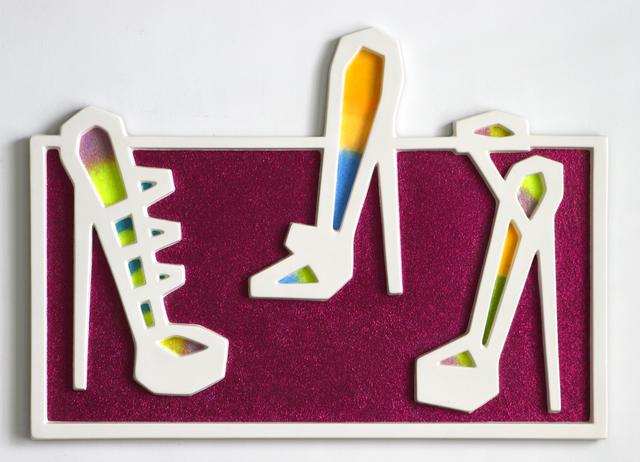 Craig Kauffman, 'Three Shoes (#65)', 2006, Sculpture, Fiberglas Relief with Glitter inset, Iris Project