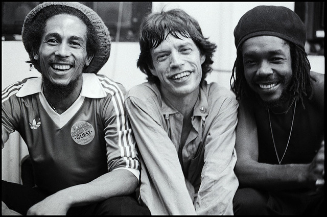 , 'Bob Marley, Mick Jagger, Peter  Tosh, backstage after The Rolling  Stones concert, Palladium Theatre,  New York,' 1978, ElliottHalls