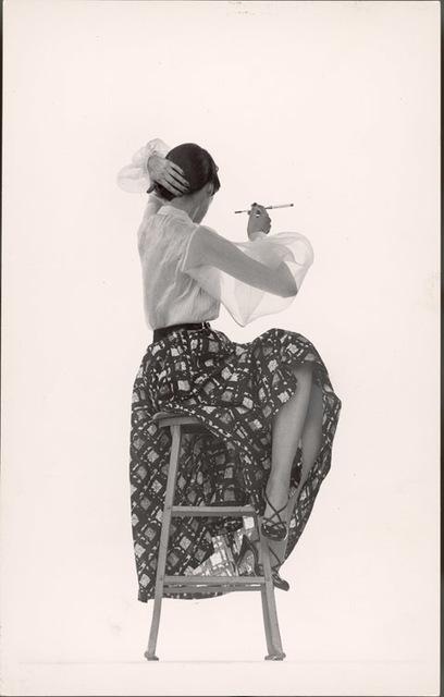 Gjon Mili, 'Model Dorian Leigh Wearing White Organdy Shirt with Full Print Skirt by Ceil Chapman', 1950, Contessa Gallery