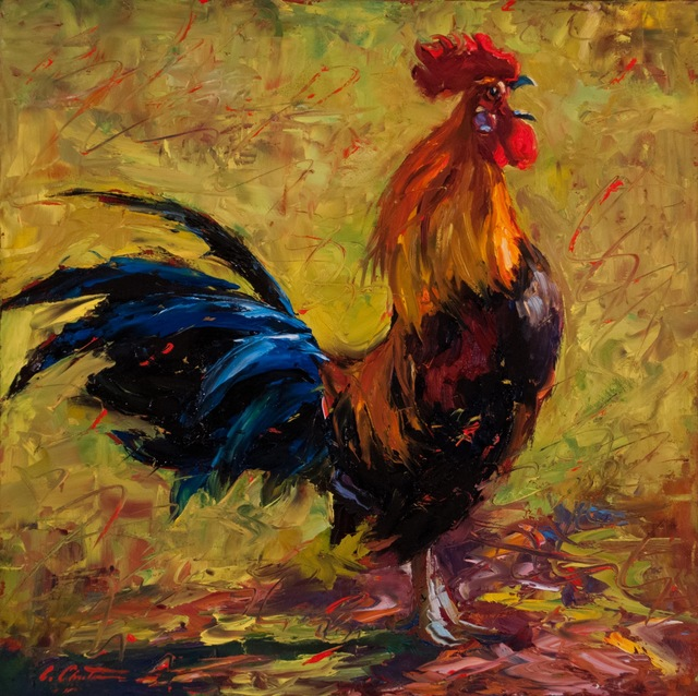 """, '""""Cockcrow"""" painterly depiction of a Rooster in Bright Yellow, Red, Blue, Green,' 2010-2017, Eisenhauer Gallery"""