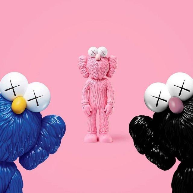 KAWS, 'BFF (Full Set of 3 colors Black, Blue & Pink)', ca. 2017-2018, Sculpture, Painted Rotocast Vinyl, artempus
