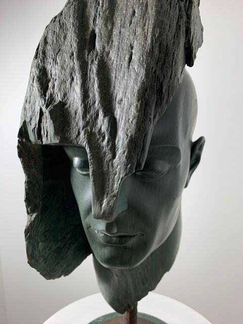 Domenico Ludovico, 'Head xyz1', 2017, Sculpture, Green marble of Carrara very rare and precious from the river in the quarry of the valley of the Apuan Alps, Carrara. Original and unique sculpture. Marble statue., ARTE GLOBALE