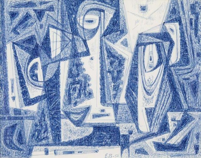 Emil Bisttram, 'Abstraction', 1956, Drawing, Collage or other Work on Paper, Blue ball-point pen on paper, Addison Rowe Gallery