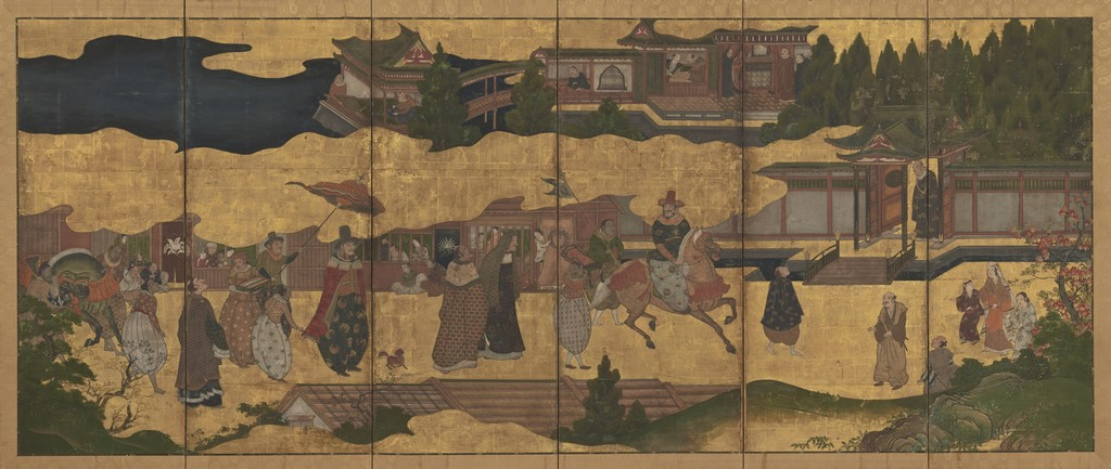 Arrival of the Europeans, Japan, Edo period (1615–1868), early 17th century. Ink, color, gold, and gold leaf on paper. Mr. and Mrs. Robert Feinberg Collection. Photo: Courtesy Harvard Art Museums