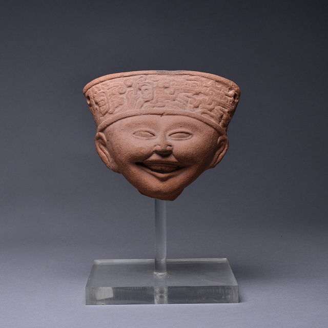 Unknown Pre-Columbian, 'Remojadas Sculptural Fragment of a Smiling Head', 500 AD to 900 AD, Barakat Gallery