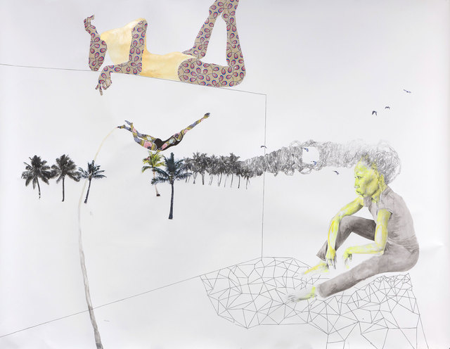 , 'with the galaxy beneath her, she remembered the magic of soaring amidst coconut clouds,' 2014, Goodman Gallery