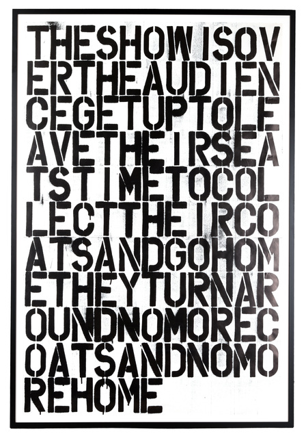 Christopher Wool, 'untitled (The Show Is Over)', 1993, Chiswick Auctions