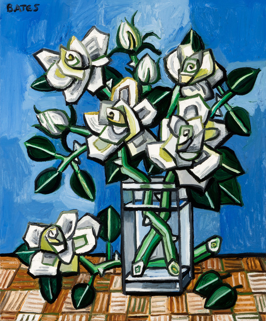 , 'Roses on Rattan Table,' 2017, Arthur Roger Gallery