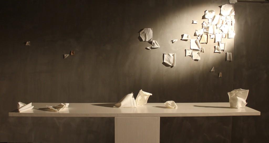 Ray Chan See-kwoong, Duo, 2014, Shigaraki translucent clay, GRACE exhibition view at Mur Nomade, Hong Kong