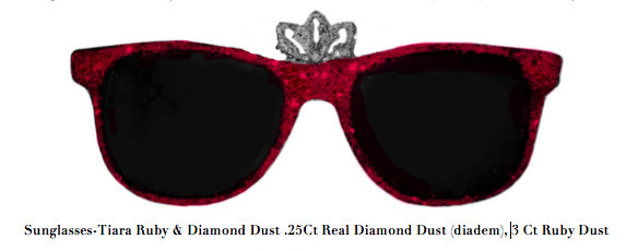 , 'Sunglasses-Tiara Ruby & Diamond Dust .25Ct Real Diamond Dust (diadem), 3 Ct Ruby Dust,' , ART CAPSUL
