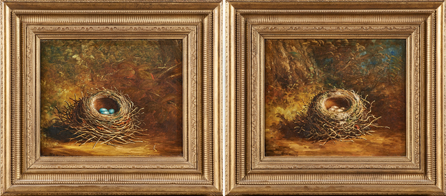 Ben Hold, 'Two untitled oils on canvas with birds' nests', Rago