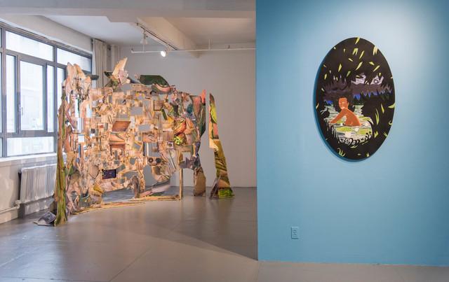 William Villalongo, 'Bathing Nymph', 2009, Other, Acrylic, paper, and velvet flocking on wood panel., EFA Project Space