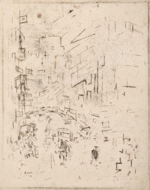 John Marin, 'Movement Down Town', 1914, Skinner
