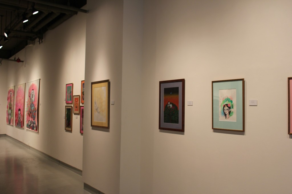 """Installation view of """"Empowering the Extraordinary Dakinis"""" at Tibet House US, New York (2016). Image courtesy of Tibet House US"""