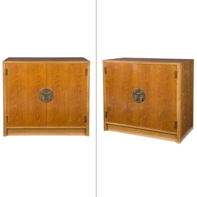 Edward Wormley, 'Pair of Edward Wormley Walnut Chinese Cabinets, For Dunbar', 1950s, Doyle