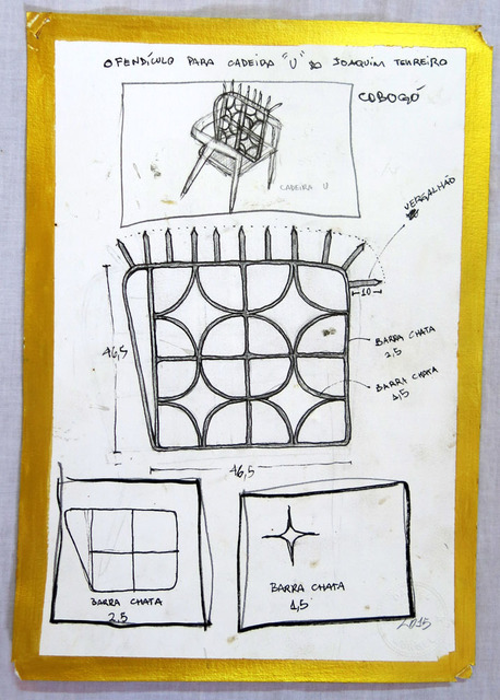""", 'Projeto para ofendículo Cobogó para cadeira """"U"""" do Joaquim Tenreiro [Project to """"Cobogó"""" barrier to """"U"""" chair by Joaquim Tenreiro],' 2015, Portas Vilaseca Galeria"""