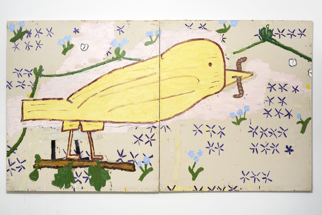 Rose Wylie, 'Yellow Bird (Woodcut)', 2015, Painting, Oil on Canvas, CHOI&LAGER
