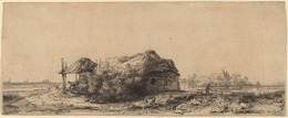 Rembrandt van Rijn, 'Landscape with a Cottage and Hay Barn: Oblong', 1641, Print, Etching, National Gallery of Art, Washington, D.C.