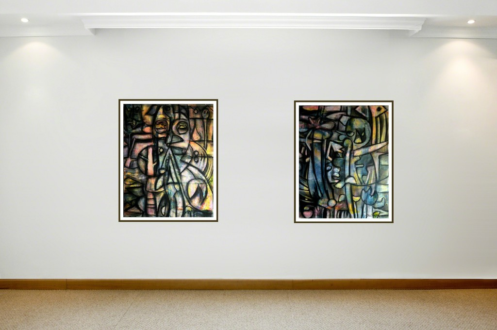 """Left to Right: 'Dialog' and 'Counsel' by R. Duartes. Charcoal and acrylic on canvas. 50 x 40 cm (19.7 x 15.7"""")"""