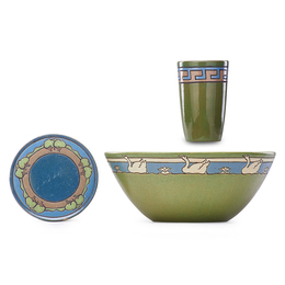 Large Bowl, Trivet and Cup Decorated in Cuerda Seca with Geese Geometric Band and Trees, Boston, MA