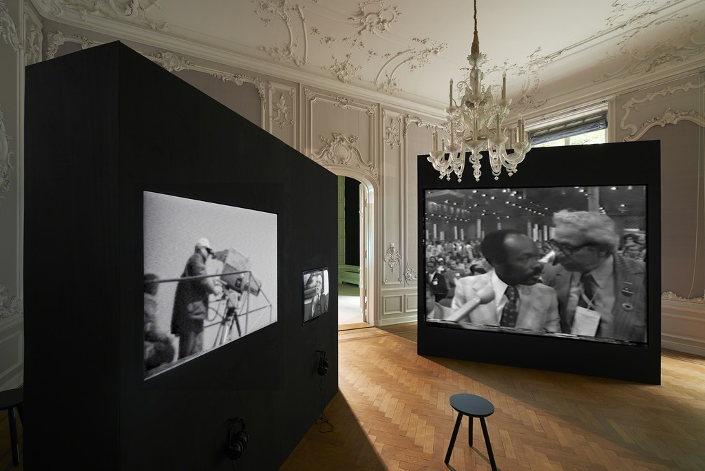 Installation view, 2018: Paul Ryan, Earth Day in New York City, 1970, 23:03 min., The Raindance Foundation, Interview with Buckminster Fuller, 1970, 33:45 min., The World's Largest TV Studio, TVTV, Top Value Television, 59:54 min. (left to right)
