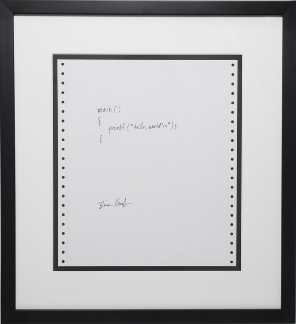 Brian Kernighan, 'Hello World', 1978, Algorithm Auction