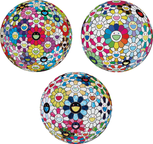 Takashi Murakami, 'Flowerball Multicolor; Flowerball: Want to Hold You; and The Flowerball's Painterly Challenge', 2014; and 2015, Phillips