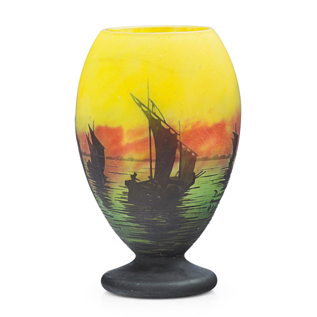Daum, 'Vase With Sailboats, France', Early 20th C., Rago/Wright
