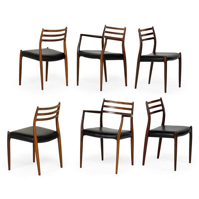 Niels Otto Møller, U0027Set Of Six Dining Chairs, Two Arm , Four