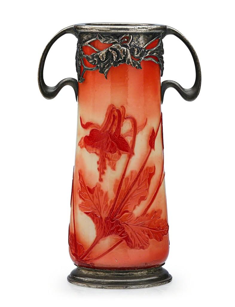 Verrerie de sevres vase with columbines and floral overlay france verrerie de sevres vase with columbines and floral overlay france ca izmirmasajfo Gallery