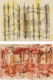 Dorothy Dehner, 'Untitled (black/yellow); and Untitled (red/black),' 1955 and 1959, Phillips: Evening and Day Editions (October 2016)