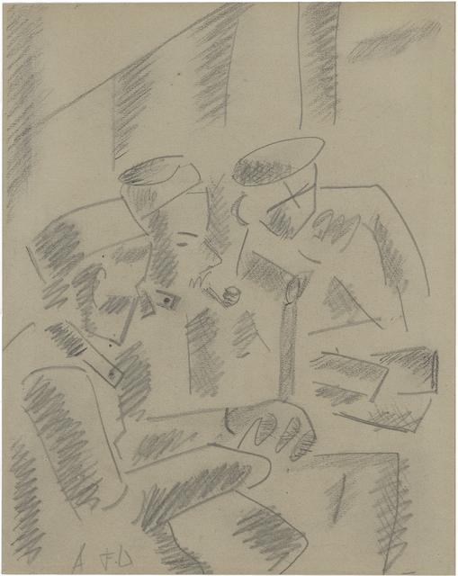 , 'Trois soldats au repos dans un baraquement,' ca. 1915, Chowaiki & Co.
