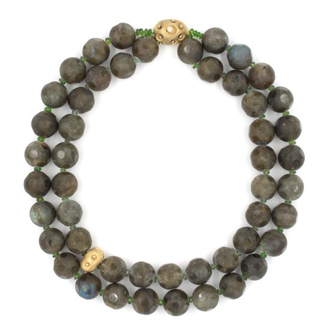 , 'Labradorite Necklace with Gold & Diamond Clasp,' , form & concept