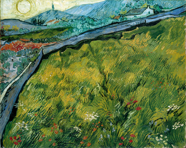 Vincent van Gogh, 'Enclosed wheat field with rising sun', late May 1889, Painting, Oil on canvas, Kröller-Müller Museum