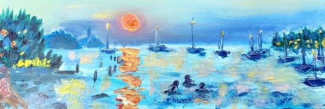 , 'Water paintings summer 2019 - plein air in situ paintings, Strunjan, sunset, bathers,' 2019, Noravision Gallery