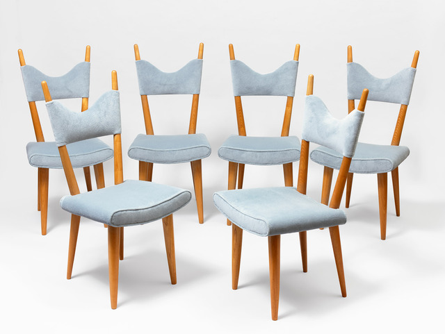 ", 'set of 6 ""baltique"" chairs,' ca. 1950, Galerie Jacques Lacoste"