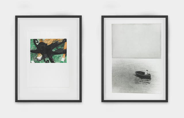 John Baldessari, 'Deer and Octopus and Boat (With Figure Standing), from the portfolio Hegel's Cellar', 1986, Mixed Media, Etching in photogravure, aquatint, spit-bite, soft-ground, drypoint and sanding printed in colors, Rago/Wright