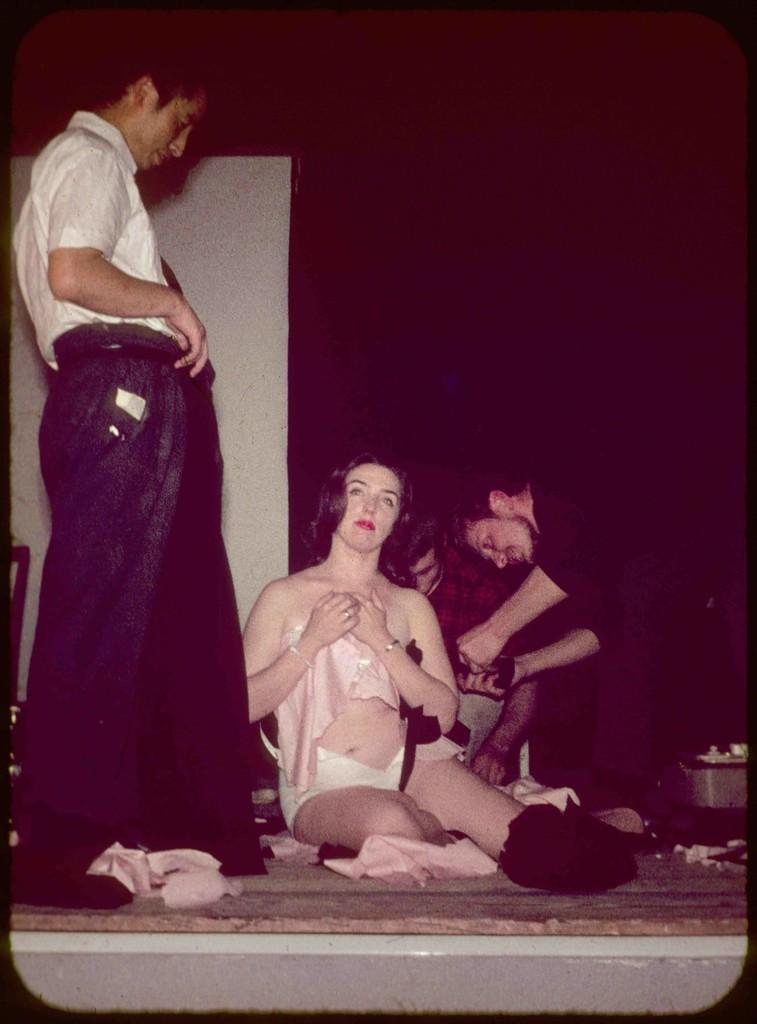 Charlotte Moorman performing Yoko Ono's Cut Piece with Nam June Paik, Galerie Aachen, Aachen, West Germany,