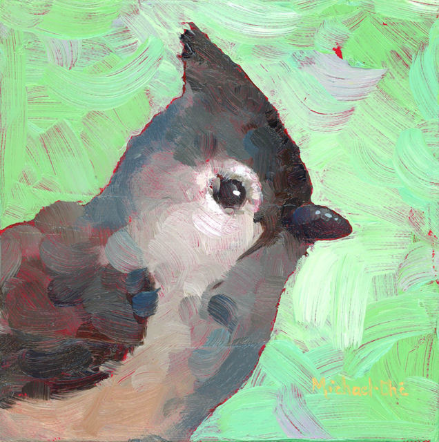 "Michael-Che Swisher, '""Too Soft to Fluff"" Oil portrait of a gray and white bird with green background', 2019, Eisenhauer Gallery"