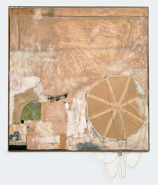Robert Rauschenberg, 'Untitled', ca. 1955, Combine: oil, house paint, paper, fabric, and printed reproductions with sock and parachute on canvas, Robert Rauschenberg Foundation